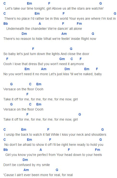 Bruno Mars Versace On The Floor Easy Guitar Chords | Wikizie.co