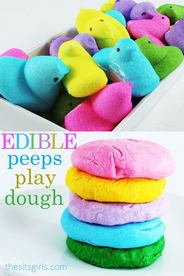 This is a fun way to play with your food! Make edible play dough with peeps. It's a perfect activity to do with your kids this spring.