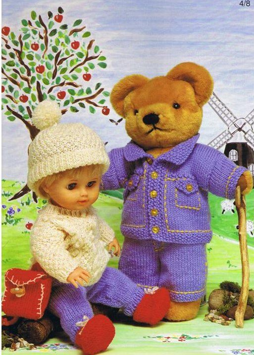 1000+ images about Teddy and dolls clothes on Pinterest Vintage knitting, P...