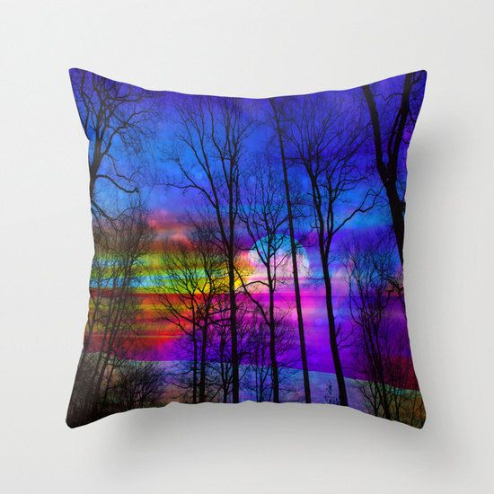 moon pillow/purple pillow/nature by haroulitasDesign on Etsy