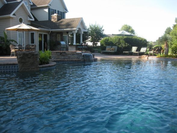 A Relaxing, Custom Concrete Pool With All The Options! Waterfalls, Hot Tub,  Concrete Pool Designs