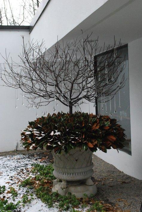 winter container with glass drops, Deborah Silver, Detroit Garden Works, Branch Studio