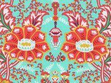 Flora: grote bloemen en ornamenten op turquoise tricot - kleurenmix