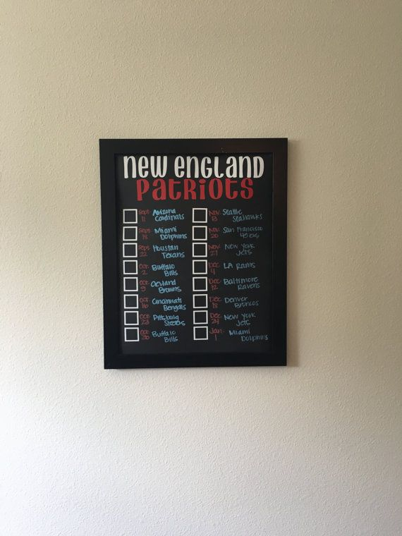 New England Patriots Record Board  Boards are a perfect way to keep track of your teams W/L record each year! Add them to your home decor, they are even great for your office! Boards are made with a chalkboard vinyl, vinyl lettering/boxes and writing is with chalk pen, which is removable for re-use for years to come. Board will come with current season schedule on it (if ordered after the season starts I will fill in boxes with W or L to keep up to date). Frame color choices are white/black…