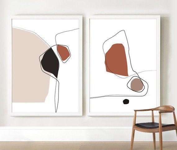 Lot de 2 estampes, Art abstrait imprimable, Beige Marron Orange muraux, Art contemporain imprimé, en terre cuite décoration de la maison, Art minimaliste