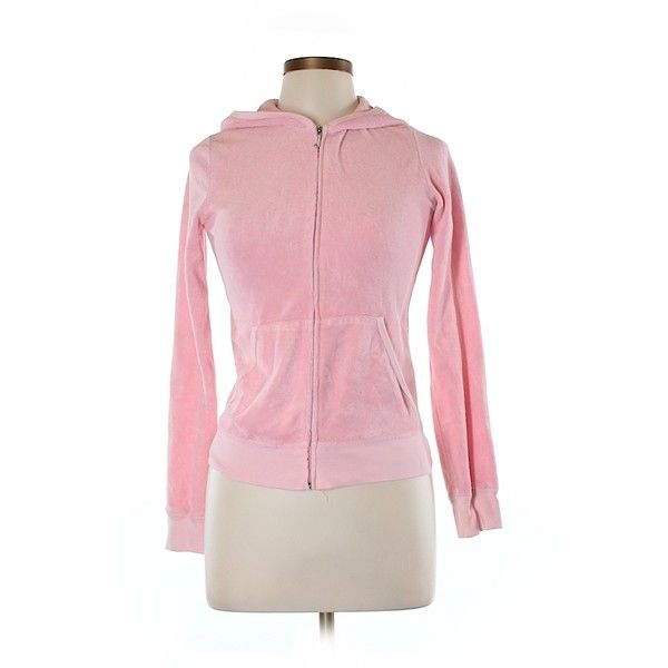 Pre-owned Juicy Couture Zip Up Hoodie ($18) ❤ liked on Polyvore featuring tops, hoodies, light pink, zip up hoodies, sweatshirt hoodies, zip up hoodie, zip up tops and pink tops