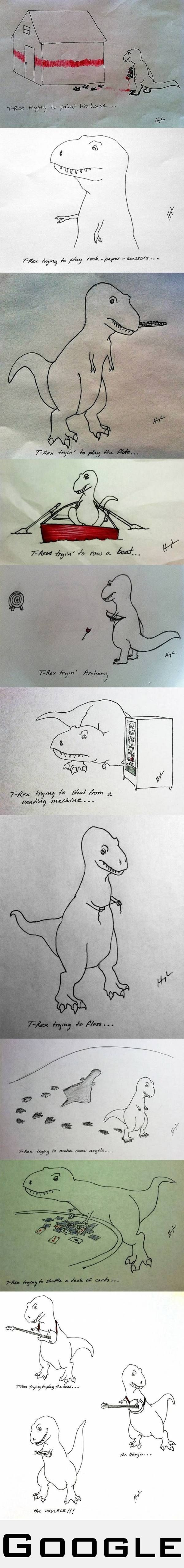 T-rex trying to do things