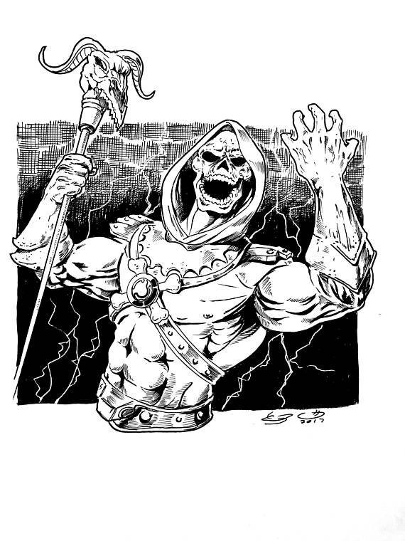Skeletor Ink Drawing From He Man The Motu In 2018 Drawing
