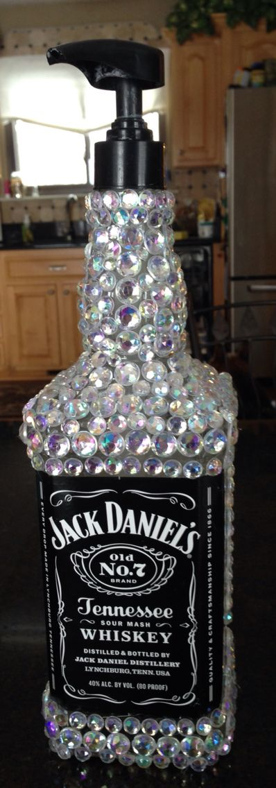 Bedazzled Liquor Bottle Soap Dispenser.