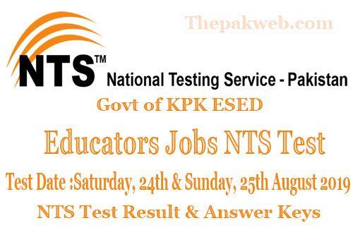 KPK ESED Educators NTS Test 2019 Answer Keys & Result