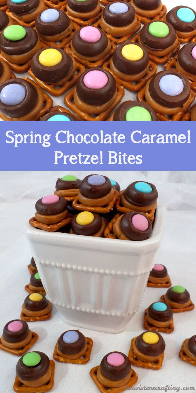 These Spring Chocolate Caramel Pretzel Bites are a great springtime treat. Sweet, salty, crunchy and delicious they are a perfect dessert for Easter, Mother's Day or even a Spring Sunday Brunch. For more Easter Food ideas follow us at https://www.pinterest.com/2SistersCraft/