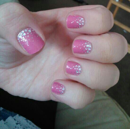 pink gem nails
