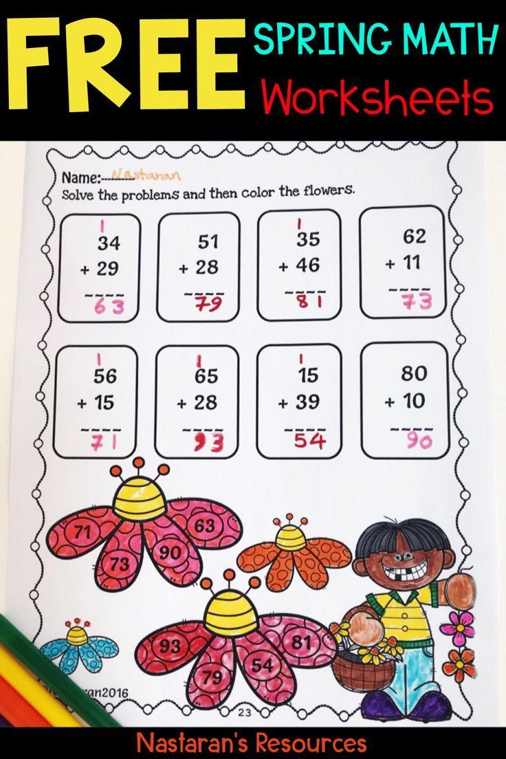 Free Spring Math Worksheets Nastaran S Resources Spring Math Worksheets Spring Math Math Worksheets [ 1104 x 736 Pixel ]