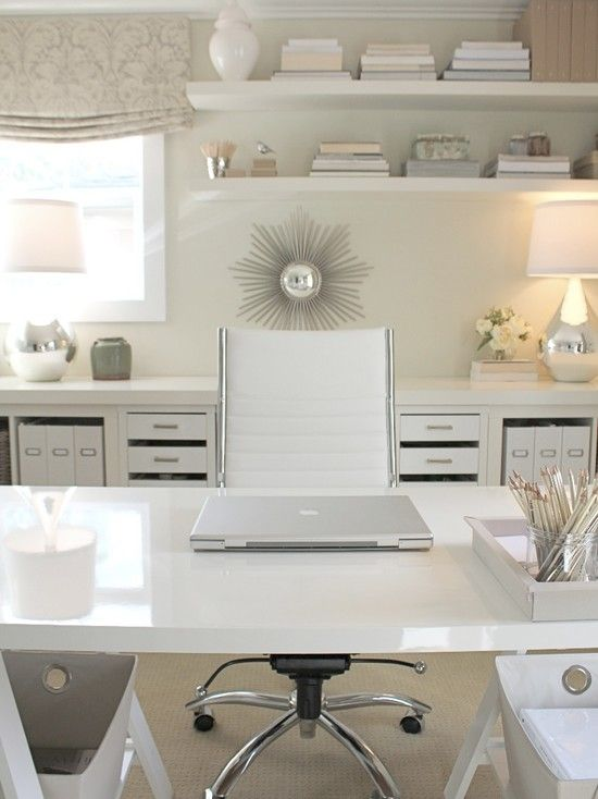 all white and clean office