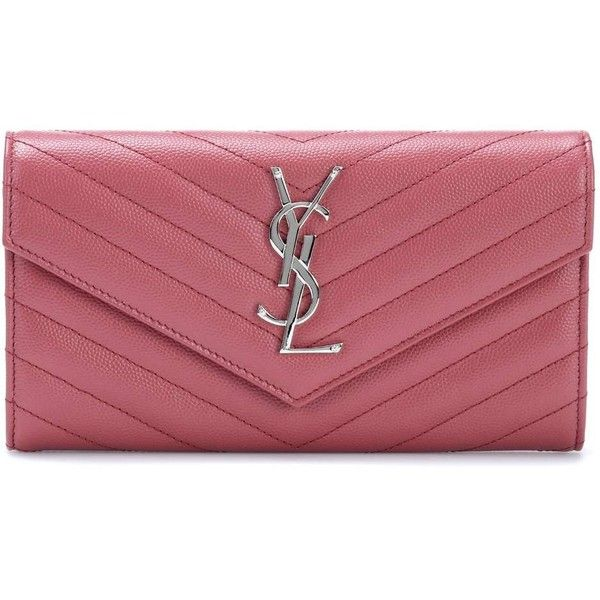 Saint Laurent Monogram Quilted Leather Wallet ($835) ❤ liked on Polyvore featuring bags, wallets, pink, monogram wallet, quilted leather wallet, monogrammed bags, pink wallet and red bags