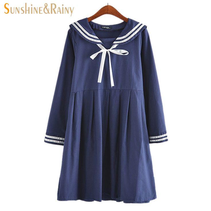 2016 осень новых женщин лета платье женский хлопок линия Японский Военно Морской Колледж стиль сладкий полосатый чистые девушки платье 2 цветов купить на AliExpress