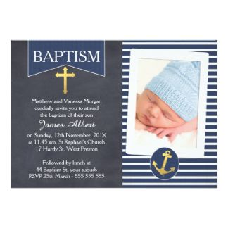 chalkboard Nautical Faux Gold Baptism Invitation