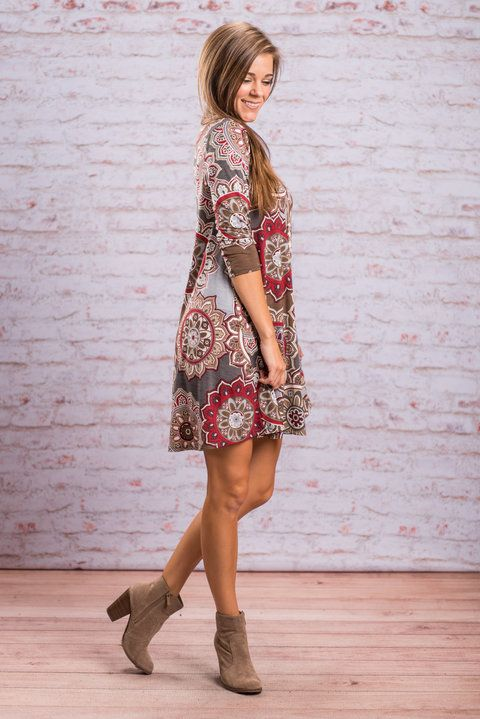 """""""Forever Funky Dress, Olive""""This print has been a total hit! Literally, if you can't tell how funky and fun this this dress is just by looking at it we suggest you make an appointment with your eye doctor!! Which is why we have been hunting for this print in all sorts of different cuts and colors!  #Newarrivals #shopthemint"""