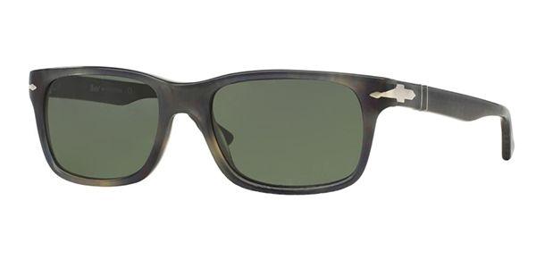 Persol per uomo po3048s (SUPREMA)  - 101731 (STRIPPED GREY HAVANA\/green), Occhiali da Sole Calibro 58