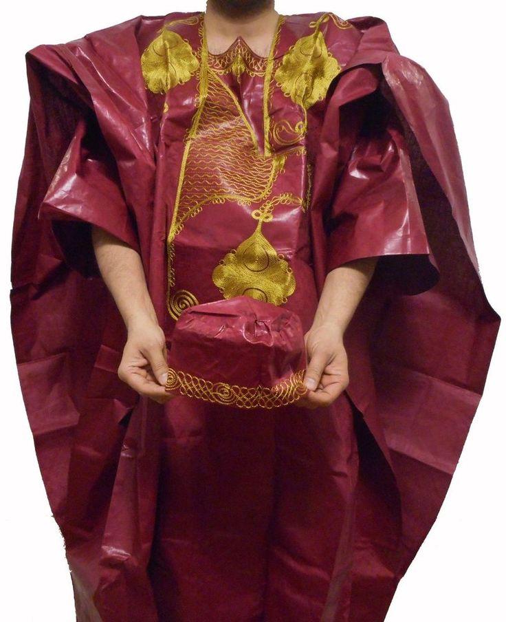 African Ethnic Men Pant Suit Brocade Grand Bou Bou Pant Set Plus Siz Maroon Gold #Handmade #GrandBouBou