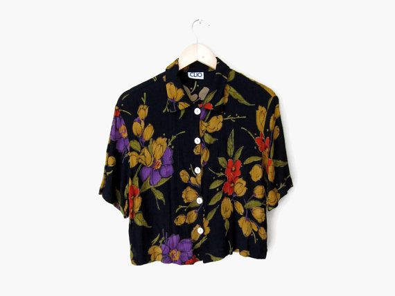 Slouchy Floral Collared Shirt, Vintage c. 1990s / from SPADRA's on Etsy || nineties / black / violet / red / mustard yellow / dark floral / button up top / oversized blouse / hipster clothing / grunge style / 90s fashion