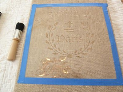 Tutorial on stenciling burlap- this would be a good thing to do with some of those cheap canvases I picked up- cover -em with burlap and go to town!