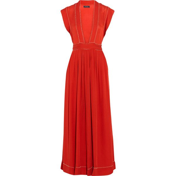 Isabel Marant - Mick Bead-embellished Woven Silk Maxi Dress (1,155 BAM) ❤ liked on Polyvore featuring dresses, red, silk maxi dress, boho dresses, red maxi dress, red dress and maxi dresses