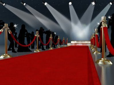 """I love the idea of doing a red carpet with the red ropes for guests to walk through and someone manning the entrance to check """"VIP"""" invitations and receive gifts!  Making cut out paparazzi!"""