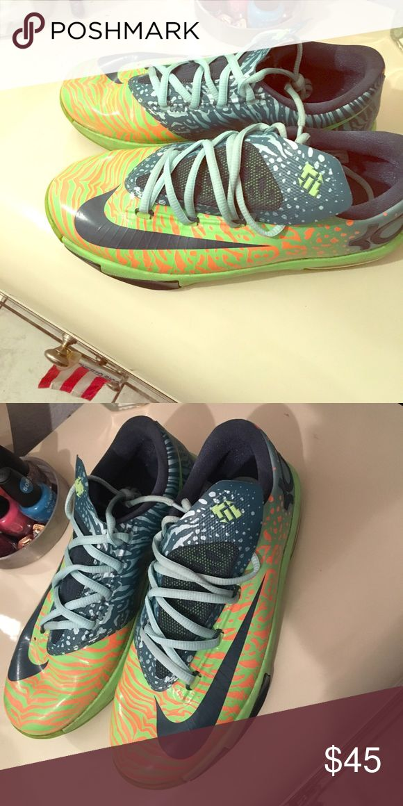 Kd Shoes Lime green and blue kd sneakers Nike Shoes Sneakers