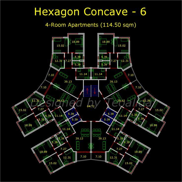 Hexagon concave tower 1536 1536 for Hexagon deck plans