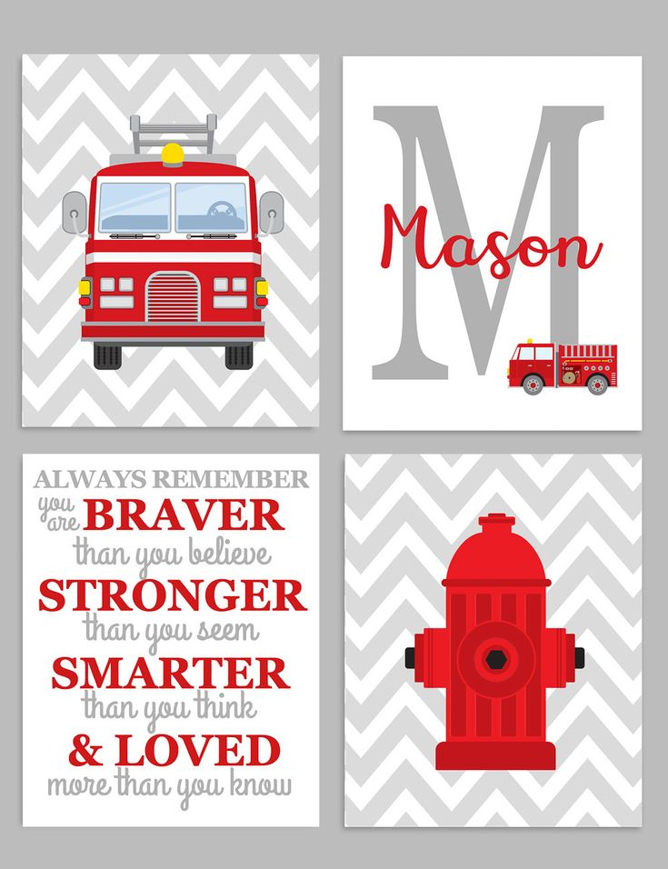 Firefighter Nursery, Fireman Nursery Decor, Baby Boy Wall Art, Boy's Bedroom Art, Boy Wall Decor, Boy Monogram Print, Always Remember Quote by SweetPeaNurseryArt on Etsy