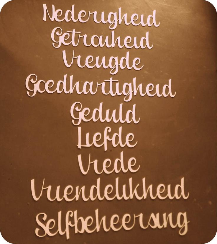 """""""Vrugte van die Gees"""" set of 9 words  Size: 15cm high   Material: white PVC Foam, 6mm   Cost: R990 set of 9 words"""