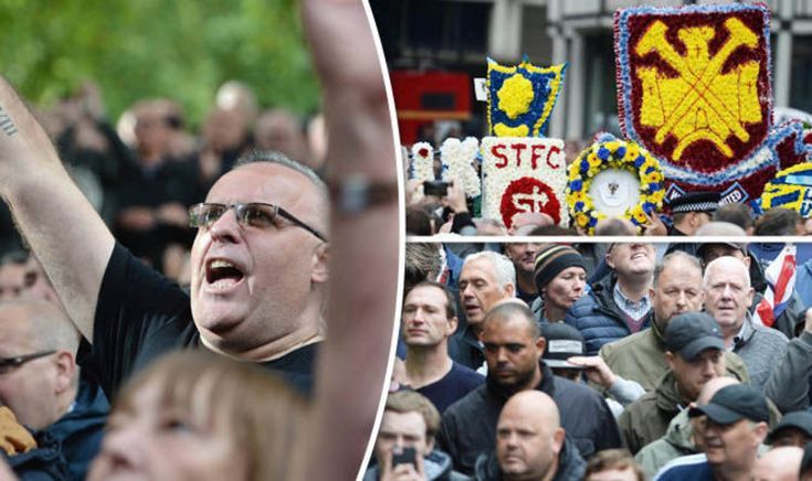 THOUSANDS of football fans descended on London today to protest against extremism after a spate of terror attacks in the UK.