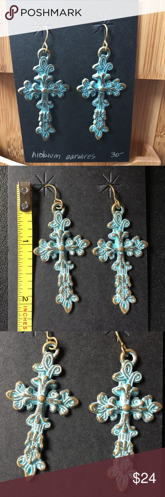 """NEW ornate copper and patina look cross earrings NEW ornate copper and patina look cross earrings handmade, one of a kind. Approximately 2"""" long, 1"""" wide at widest point. Niobium eat wires, faux copper with green patina for the look without the weight (or price tag) of copper.  Very pretty 🌹 Jewelry Earrings"""