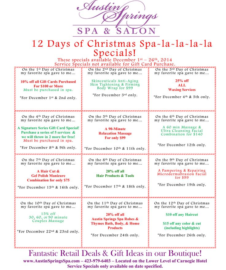 Happy Spa-lidays! We hope you enjoy our December specials.                                                                                                                                                     More