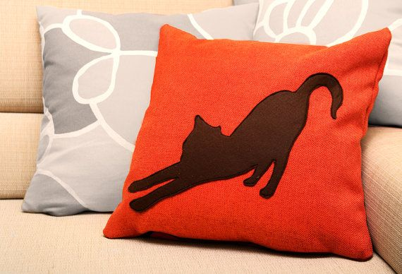 Stretching cat cushion cover - tangerine and dark brown - cat pillow - decorative pillow - sofa pillow on Etsy, $40.68