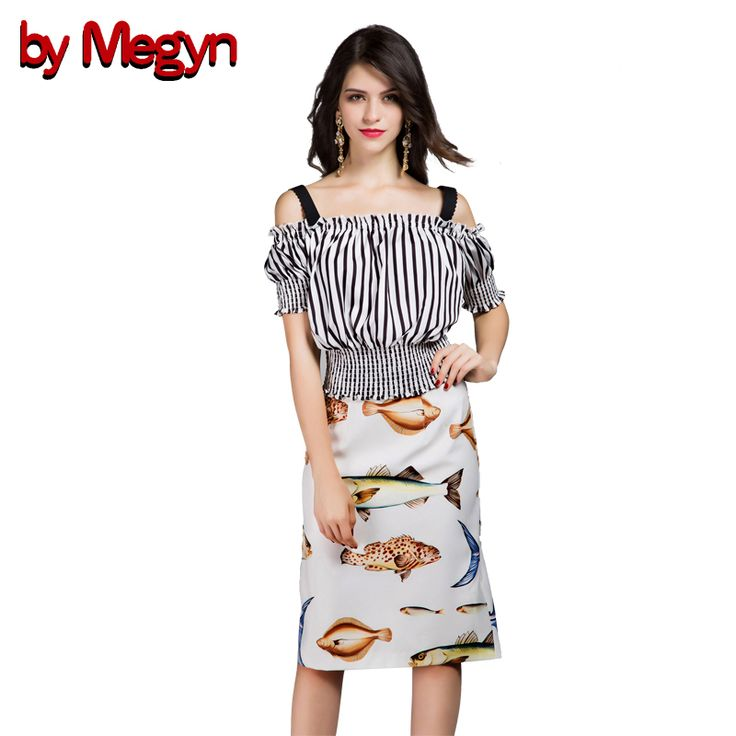 ==> [Free Shipping] Buy Best by Megyn Designer Brand Spring Summer Women Set Suits Short Sleeve Strap Tops  Fish Print A-Line Skirt Casual Twinset DG240 Online with LOWEST Price | 32773626744