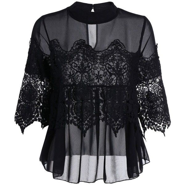 See Thru Lace Insert Chiffon Top ($15) ❤ liked on Polyvore featuring tops, lace insert top, chiffon tops and lace inset top