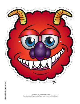 Fangs, horns, red fur, and a purple nose make this monster mask extra scary. Free to download and print