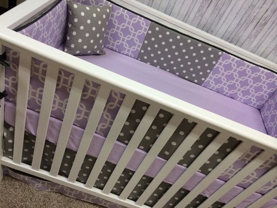 Crib Bedding Cot Set Crib set Mini Crib - Bumpers/sheet/adjustable skirt- Purple lavender Chevron and Gray geometric Stripes on Etsy, $275.00
