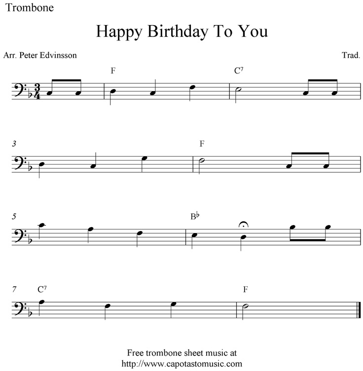 trombone sheet music happy birthday | Sheet Music Scores: Happy Birthday To You…