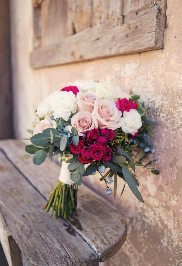 Bouquet of roses in shades of pink, white, and magenta // Elizabeth Ray Photography
