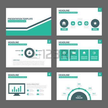 groen en zwart moderne multifunctionele presentatiesjabloon plat ontwerp set voor brochure flyer fol Stockfoto