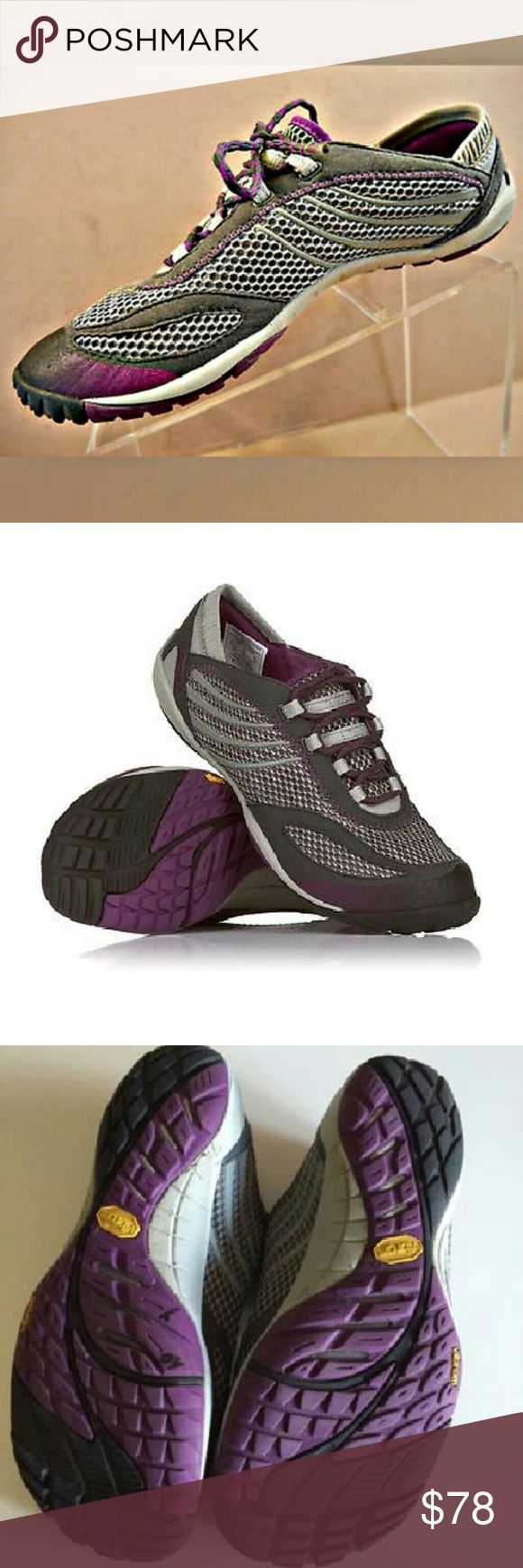MERRELL Barefoot Climbing Shoe 100% Non Smoking, No Pet Home.  Feel free to like, follow, and share. Open to offers. Thanks for the love! :)  Pace Glove Dark Shadow // Vibram //Grey Purple // Athletic Shoe // Durable // Water Resistant //Running // Natural // Size Nine // Women's 9  They look similar to a rock climbing shoe.  VERY little use. ALO Yoga Shoes Athletic Shoes