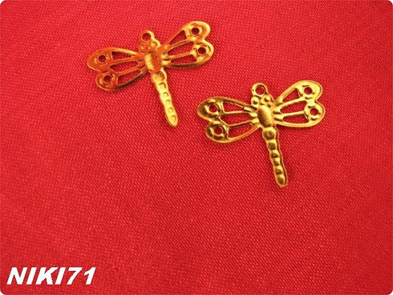 Gold Tone Dragonfly Charms 2240 by NIKI71 on Etsy, $5.00