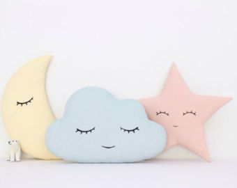 Set Of Cloud Moon And Star Pillows Yellow Mint by ProstoConcept