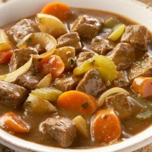 Ingredients  3 cups water  1 package McCormick® Beef Stew Seasoning Mix  2 pounds beef stew meat, cut into 1-inch pieces