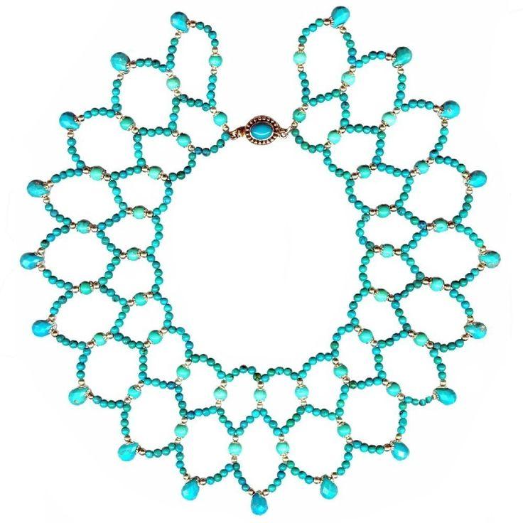Glamorosi - Turquoise Collar Statement Necklace - Turquoise Wedding Jewelry, Romantic Jewelry. $700.00, via Etsy.