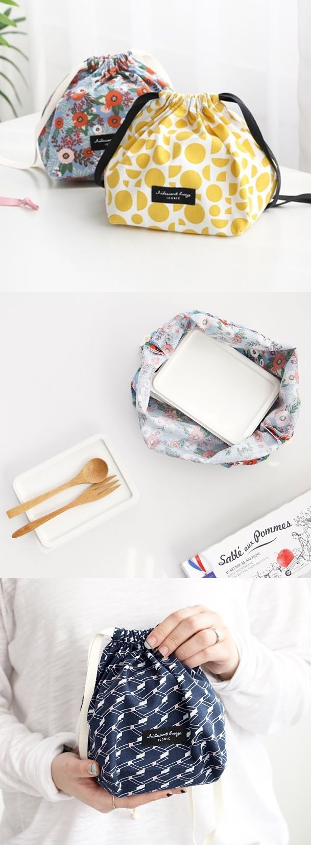 The squared bottom provides more capacity! Store your items in this cute and functional pouch!