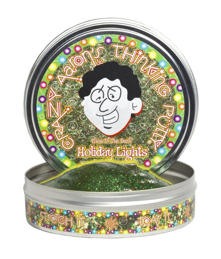 This putty is so shiny and sparkly that you'll think the Christmas lights are on!  Kids ages 8 and up (and adults, too!) will love playing with Holiday Lights Thinking Putty.